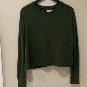 Army green soft TNA crop top